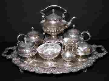 876: STERLING SILVER & COIN 7 PC TEA COFFEE SET