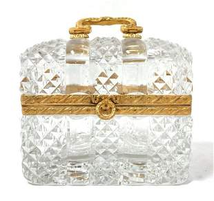 FRENCH CUT CRYSTAL & GILT BRONZE CASKET BOX