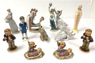 PORCELAIN FIGURINES: LLADRO, B&G, HEREND, 11 PCS