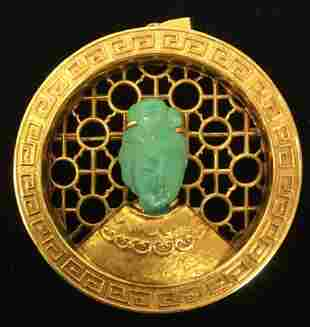 CHINESE 14K GOLD & TURQUOISE PENDANT / BROOCH