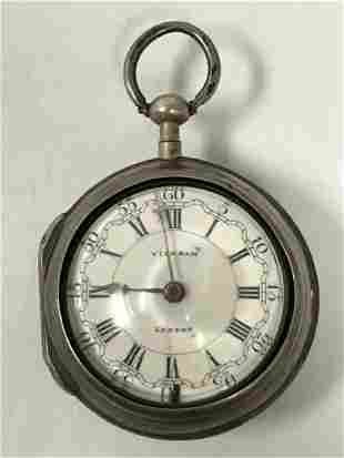 "18TH C ENGLISH ""OIGNON"" FUSEE VERGE POCKET WATCH"