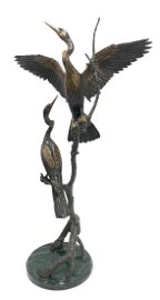 GEOFFREY SMITH BRONZE BIRD SCULPTURE: TWO ANHINGA