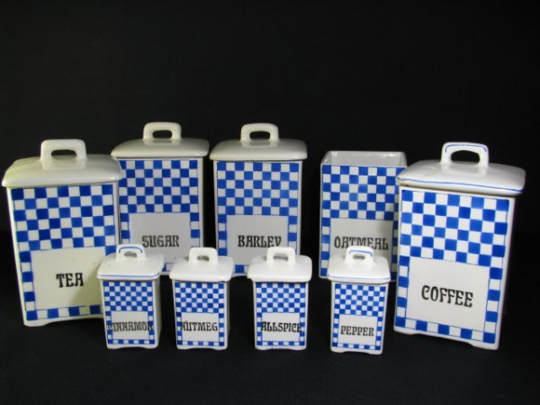 1: CZECHOSLOVAKIAN BLUE CHECKERED CANISTER SET