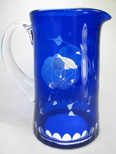 6: COBALT BLUE CUT TO CLEAR GLASS PITCHER & TUMBLERS