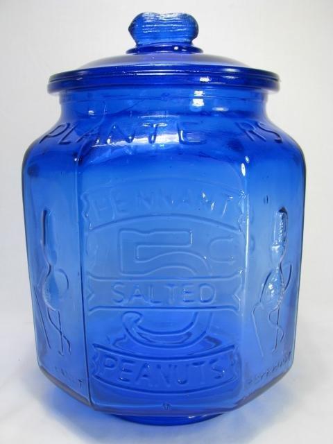 14: COBALT BLUE MR. PEANUT ADVERTISING COOKIE JAR