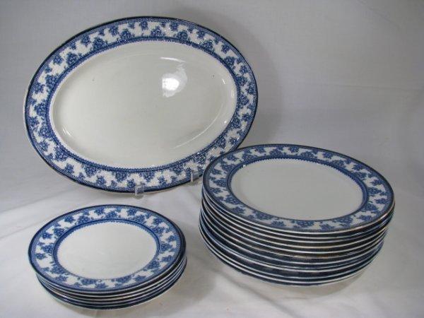 15: WOOD & SONS TORBREX BLUE WHITE DINNERWARE 19 PCS