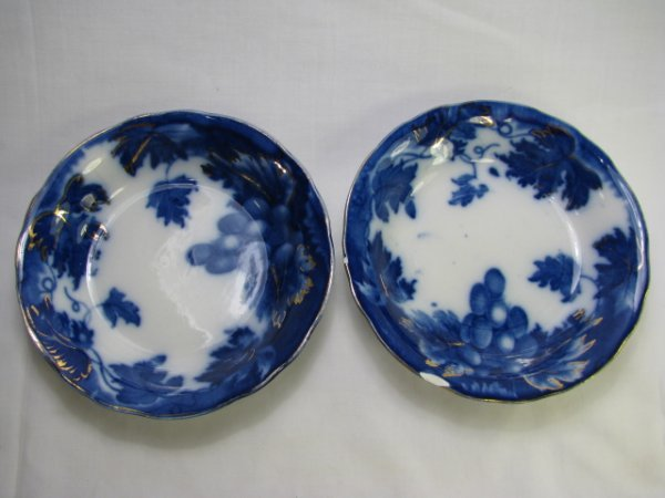 16: TWO STAFFORDSHIRE FLOW BLUE BOWLS: VINE