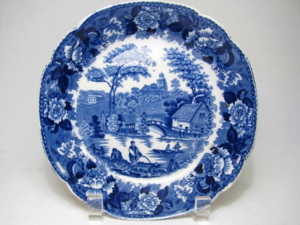 17: STAFFORDSHIRE BLUE BOWL: WILD ROSE