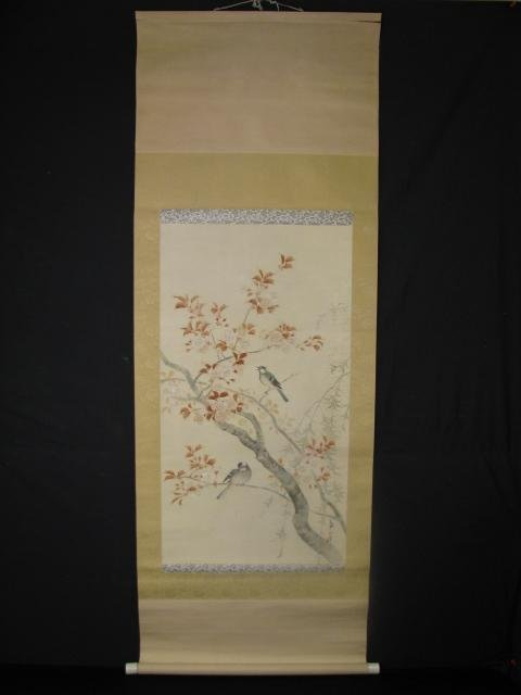 21: JAPANESE HAND PAINTED SILK SCROLL OF BIRDS SIGNED