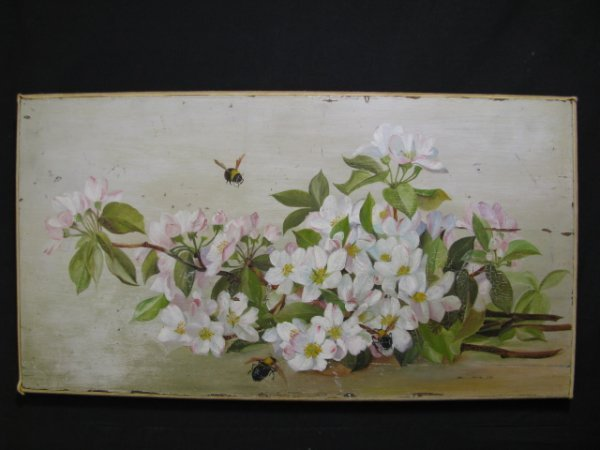 23: SHABBY CHIC APPLE BLOSSOMS & BEES OIL PAINTING