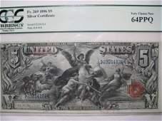 169: SILVER CERTIFICATE $5. Fr.269  1896 PCGS 64 PPQ