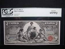 183: SILVER CERTIFICATE $2 Fr. 247 PCGS 65 PPQ GEM NEW
