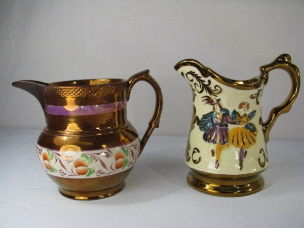 361: COPPER LUSTER PITCHER & WADE FESTIVAL PITCHER 2pc