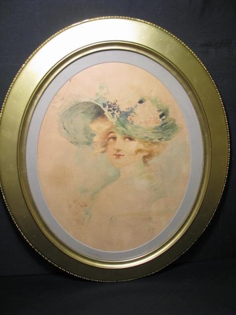 371: 19TH C WATER COLOR PORTRAIT PAINTING YOUNG WOMAN