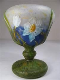 437: DAUM NANCY WHEEL CARVED CAMEO ART GLASS VASE