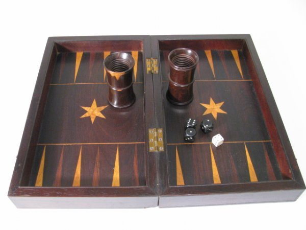 661: 19th CENTURY WOOD INLAY GAME BOARD BOX DIE & CUPS