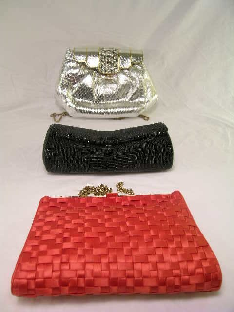 6: 3 BEADED EVENING BAGS PURSES BLACK RED SILVER