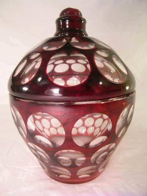8: ANTIQUE RUBY CUT CLEAR COIN DOT COVERED JAR