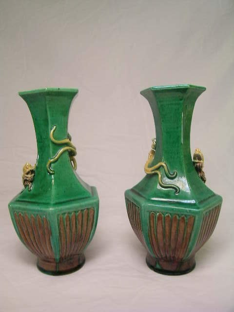 10: PR GREEN BROWN CERAMIC VASES DRAGON RELIEF SIGNED