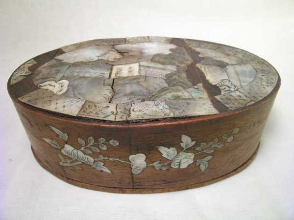 13: ANTIQUE WOODEN MOTHER OF PEARL INLAY JEWELRY BOX