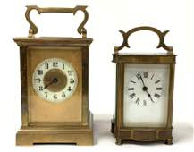 TWO ANTIQUE FRENCH BRASS CARRIAGE CLOCKS