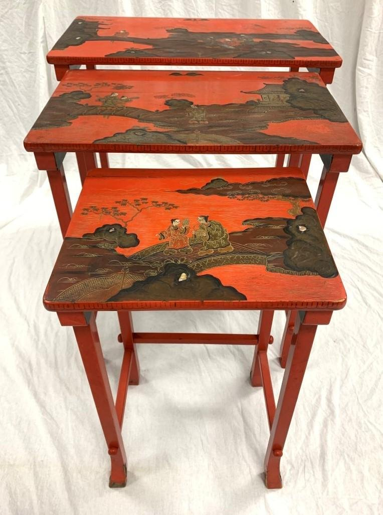 SET OF THREE CHINESE RED LACQUER NESTING TABLES