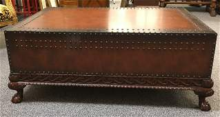 LARGE RALPH LAUREN LEATHER TOP COCKTAIL TABLE