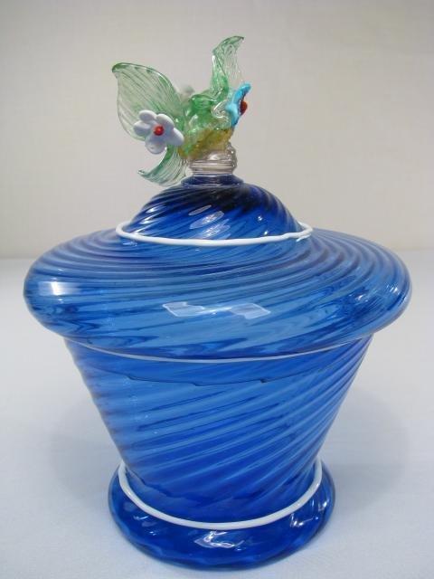 11: HAND BLOWN BLUE SWIRL GLASS COVERED DISH w/PONTIL