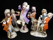 243: SIX MEISSEN PORCELAIN FIGURES OF THE MONKEY BAND