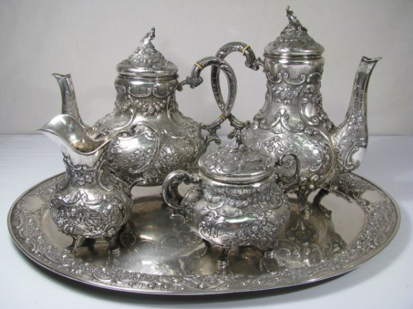 261: CONTINENTAL SILVER COFFEE & TEA SET w/ CHERUBS 5pc