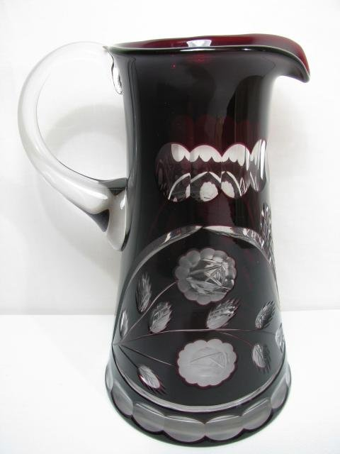 403: BOHEMIAN RUBY TO CLEAR CUT GLASS WATER PITCHER