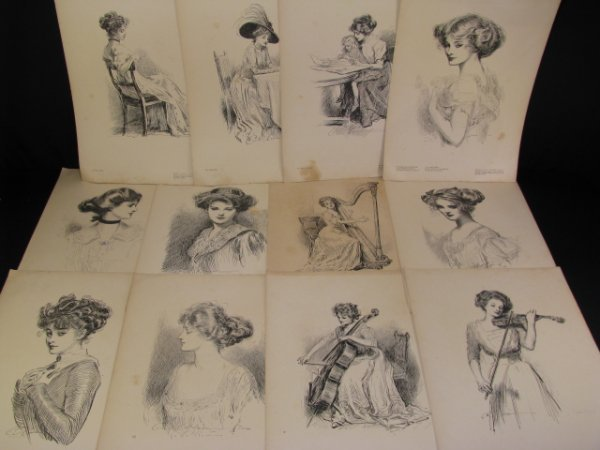 405: COLLIERS ANNUAL GIBSON GIRLS LITHOGRAPHS 12 pc