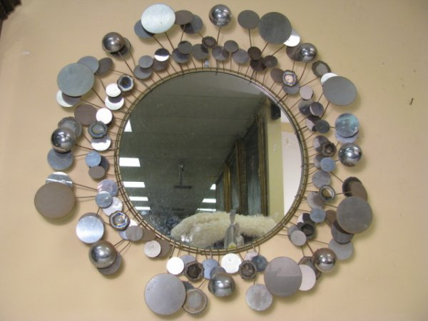 434: CURTIS JERE RAINDROPS WALL HANGING MIRROR 1975
