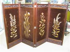 545: VICTORIAN AESTHETIC CARVED EMBROIDERED 4 PANEL SCR