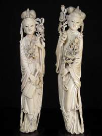 626: TWO CHINESE CARVED IVORY FIGURES HOLDING FLOWERS