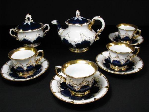638: MEISSEN COBALT BLUE & WHITE PORCELAIN TEA SET 10pc