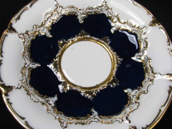 638: MEISSEN COBALT BLUE & WHITE PORCELAIN TEA SET 10pc - 3