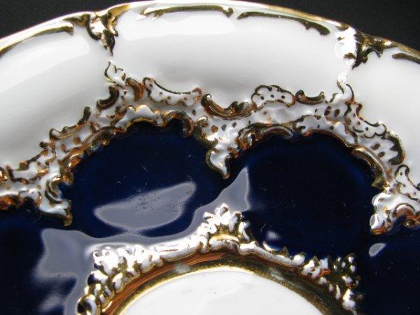 638: MEISSEN COBALT BLUE & WHITE PORCELAIN TEA SET 10pc - 4