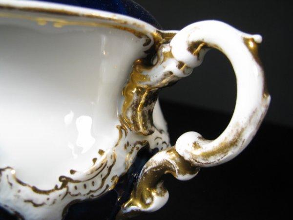 638: MEISSEN COBALT BLUE & WHITE PORCELAIN TEA SET 10pc - 5