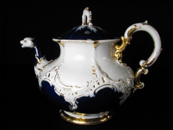 638: MEISSEN COBALT BLUE & WHITE PORCELAIN TEA SET 10pc - 6