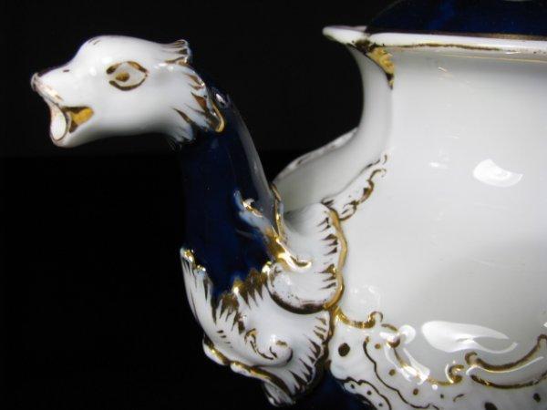 638: MEISSEN COBALT BLUE & WHITE PORCELAIN TEA SET 10pc - 7