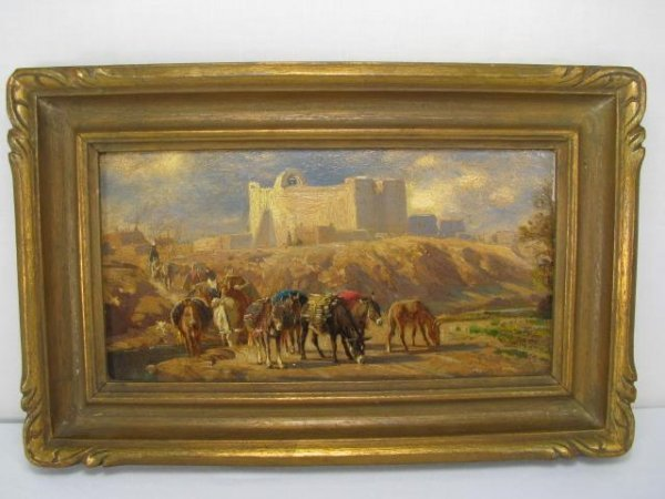 673: P MORAN OIL ON BOARD PAINTING SAN JAUN NM