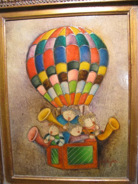 773: J. ROYBAL OIL ON CANVAS PAINTING HOT AIR BALLOON