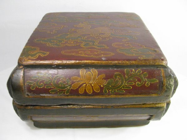 900: LG 19TH CENTURY CHINESE PAINTED WOOD BOX