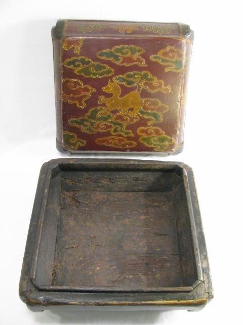 900: LG 19TH CENTURY CHINESE PAINTED WOOD BOX - 2