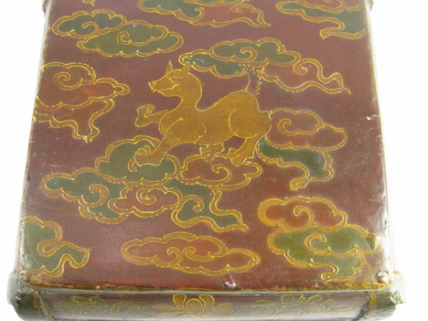 900: LG 19TH CENTURY CHINESE PAINTED WOOD BOX - 7