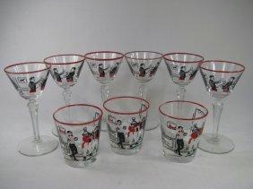 902: LIBBEY HUNT SCENE GLASS WARE MARTINI & TUMBLERS