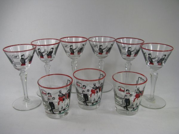 902: LIBBEY HUNT SCENE GLASS WARE MARTINI & TUMBLERS