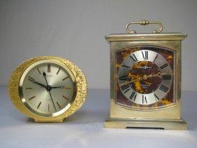 GOLD TONE METAL DESK CLOCKS SEIKO & HOWARD MILLER