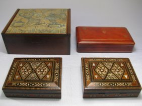 905: BOXES: INLAID MARQUETRY LEATHER & LINED CIGAR 4pcs